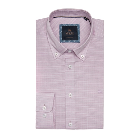 Pink & White Rarooey Check Tailored Fit Shirt  - Click to view a larger image