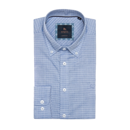 Blue & White Rarooey Check Tailored Fit Shirt  - Click to view a larger image