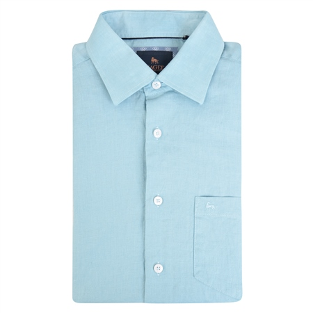 Blue Rosbeg Washed Irish Linen Short Sleeve Classic Fit Shirt  - Click to view a larger image