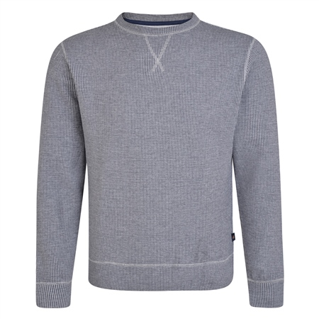 Grey & Navy Seahill Puppytooth Crew Neck Jumper  - Click to view a larger image