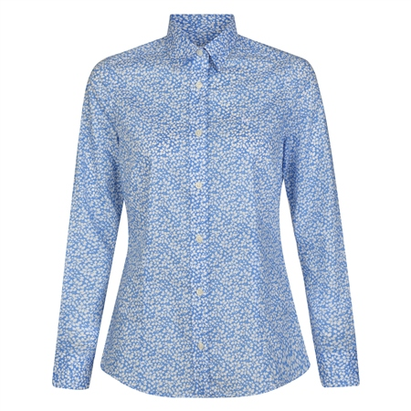 Blue & White Tracy Floral Leaf Liberty Print Tailored Fit Shirt  - Click to view a larger image