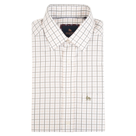 Beige Tullagh Grid Check Classic Fit Shirt  - Click to view a larger image