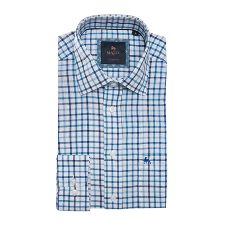 Blue Tullagh Grid Check Classic Fit Shirt  - Click to view a larger image