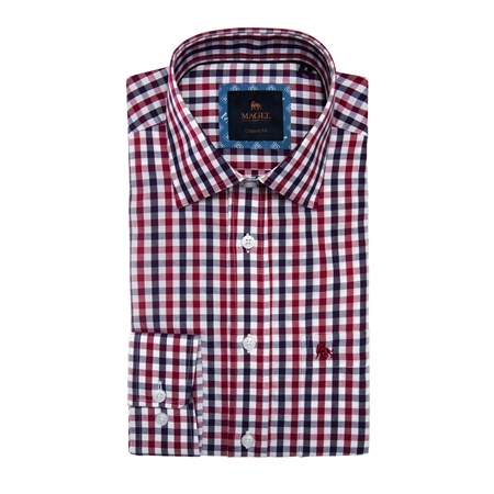 Red Tullagh Gingham Check Classic Fit Shirt  - Click to view a larger image