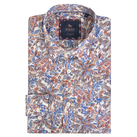 Multicoloured Dunross Floral Print Tailored Shirt  - Click to view a larger image