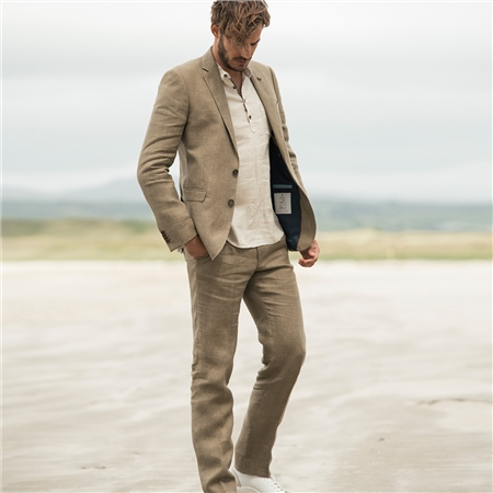 Olive Irish Linen Glen Check 3-Piece Tailored Fit Suit  - Click to view a larger image