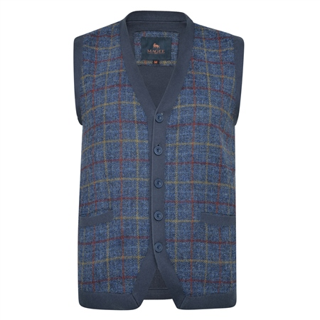 Navy Darney Check Donegal Tweed Knitted Waistcoat  - Click to view a larger image