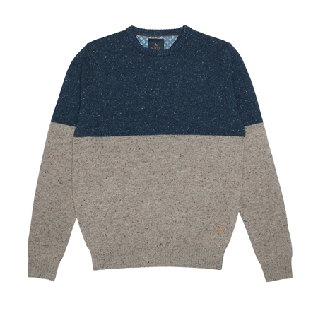 Blue & Oat Two Toned Pettigo Crew Neck Jumper  - Click to view a larger image