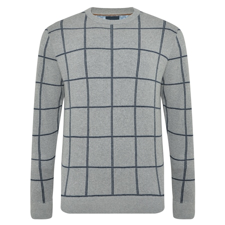 Grey Raphoe Check Crew Neck Jumper  - Click to view a larger image