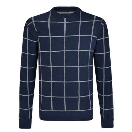 Navy Raphoe Check Crew Neck Jumper  - Click to view a larger image