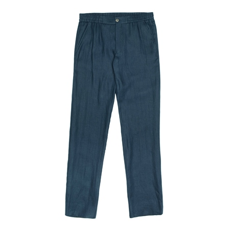 Navy Irish Linen Straid Drawstring Trouser  - Click to view a larger image