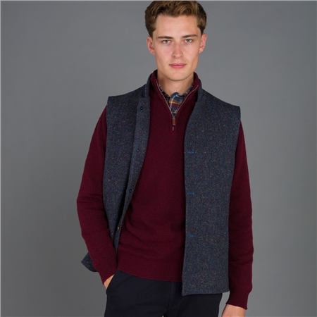 Navy Salt & Pepper Donegal Tweed Cavan Gilet  - Click to view a larger image