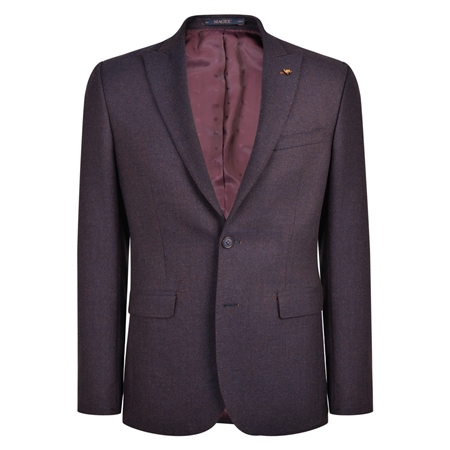Navy & Rust Hopsack Weave Classic Fit Jacket  - Click to view a larger image