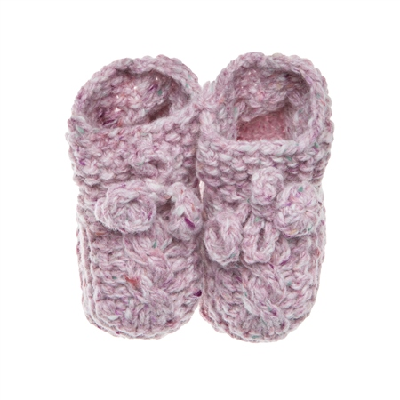 Baby Pink Heather Handknit Baby Booties  - Click to view a larger image
