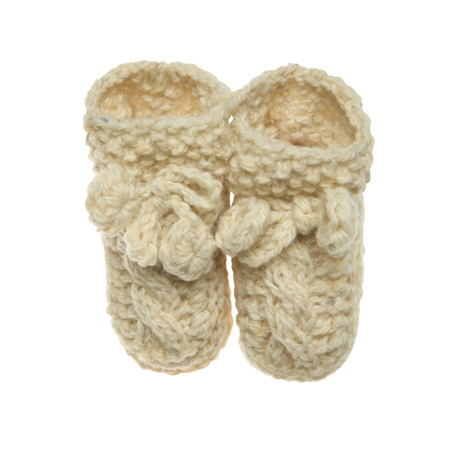 Cream Heather Handknit Baby Baby Booties  - Click to view a larger image