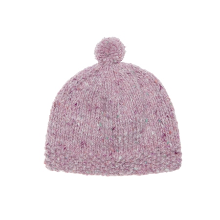 Baby Pink Heather Handknit Baby Hat  - Click to view a larger image