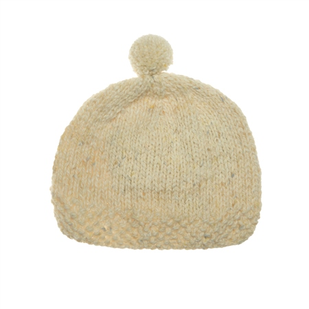 Cream Heather Handknit Baby Hat  - Click to view a larger image