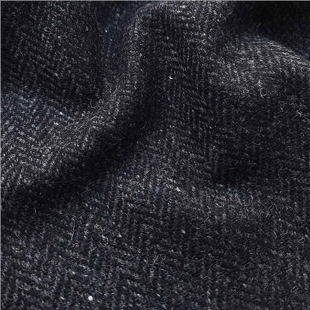 Black Herringbone Flecked Donegal Tweed  - Click to view a larger image
