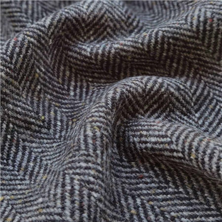 Grey & Black Herringbone Flecked Donegal Tweed  - Click to view a larger image