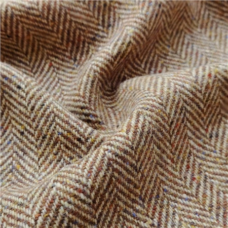 Camel & Brown Herringbone Flecked Donegal Tweed  - Click to view a larger image