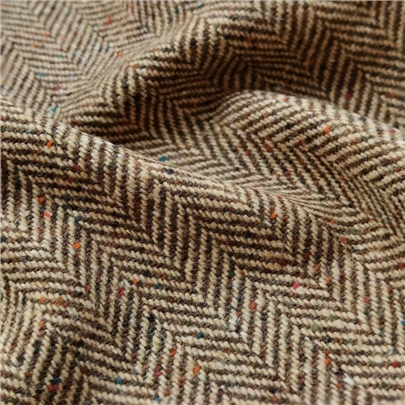 Brown & Oat Herringbone Flecked Donegal Tweed  - Click to view a larger image