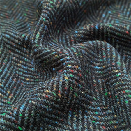 Navy Herringbone Flecked Donegal Tweed  - Click to view a larger image