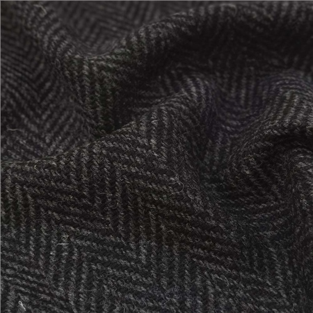 Black & Grey Herringbone Donegal Tweed  - Click to view a larger image