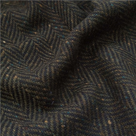 Navy & Green Herringbone Donegal Tweed  - Click to view a larger image