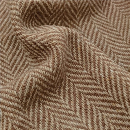 Brown & Oat Herringbone Donegal Tweed  - Click to view a larger image