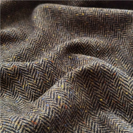 Brown Herringbone Flecked Donegal Tweed  - Click to view a larger image