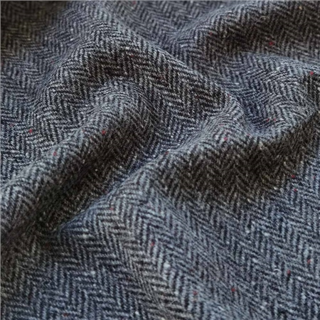 Eske - Black & White Herringbone, Flecked Donegal Tweed  - Click to view a larger image