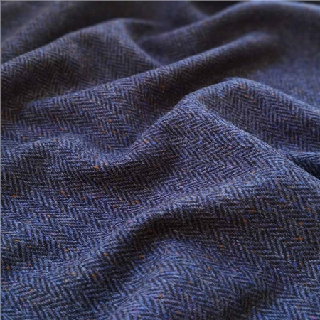 Eske - Blue & Black Herringbone, Flecked Donegal Tweed  - Click to view a larger image