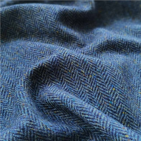 Navy & Blue Herringbone, Flecked Donegal Tweed  - Click to view a larger image