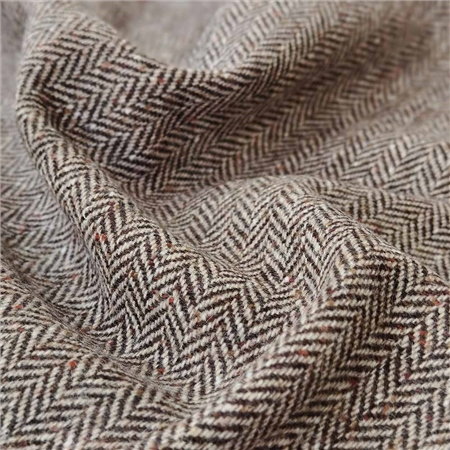 Eske - Brown & Camel Herringbone With a Fleck Donegal Tweed  - Click to view a larger image