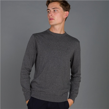 Grey Carn Cotton Crew Jumper  - Click to view a larger image