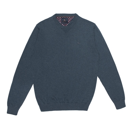 Turquoise Carn Cotton Crew Neck Jumper  - Click to view a larger image