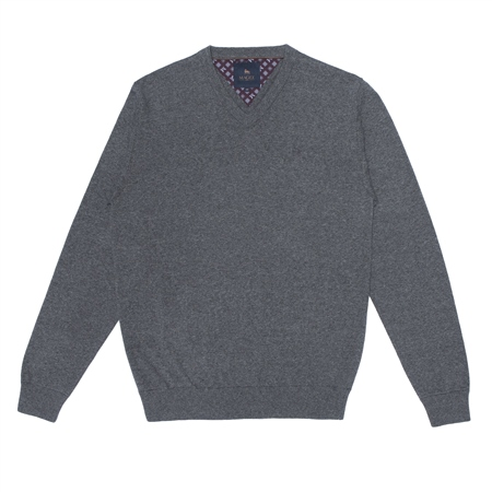 Grey Carn Cotton V Neck Jumper  - Click to view a larger image