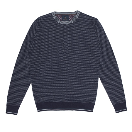 Navy Cashelenny Birdseye Crew Neck Jumper  - Click to view a larger image