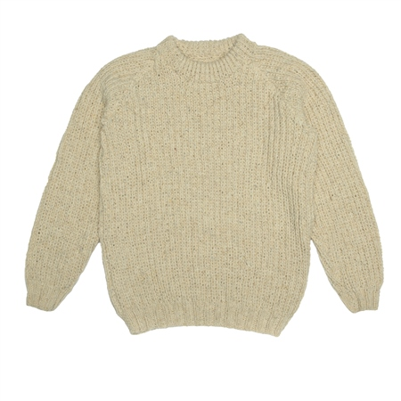 Cream Heather Handknit Maeve Fisherman Rib Jumper  - Click to view a larger image
