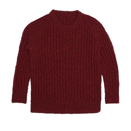 Burgundy Heather Handknit Maeve Fisherman Rib Jumper  - Click to view a larger image