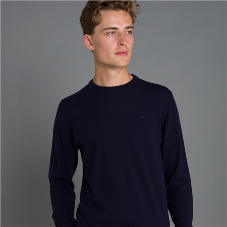 Navy Lunnaigh Lambswool Crew Neck Jumper  - Click to view a larger image