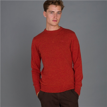 Orange Lunnaigh Lambswool Crew Neck Jumper  - Click to view a larger image