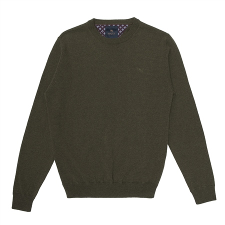 Green Lunnaigh Lambswool Crew Neck Jumper  - Click to view a larger image