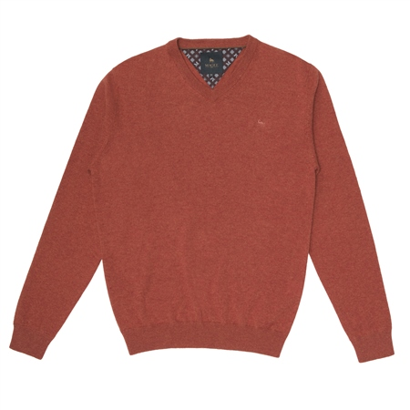 Orange Lunnaigh Lambswool V-Neck Jumper  - Click to view a larger image