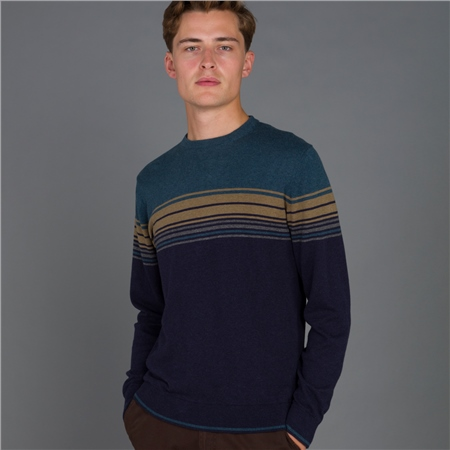Navy Termon Striped Cotton Crew Neck Jumper  - Click to view a larger image