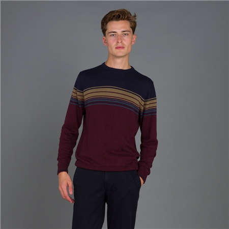 Maroon Termon Striped Cotton Crew Neck Jumper  - Click to view a larger image