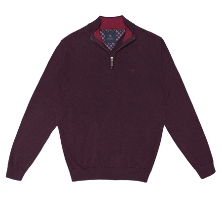Maroon Carn Cotton 1/4 Zip Jumper  - Click to view a larger image