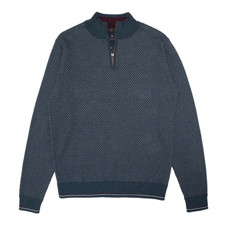 Cashelenny Cotton 1/4 zip Jumper in Teal  - Click to view a larger image