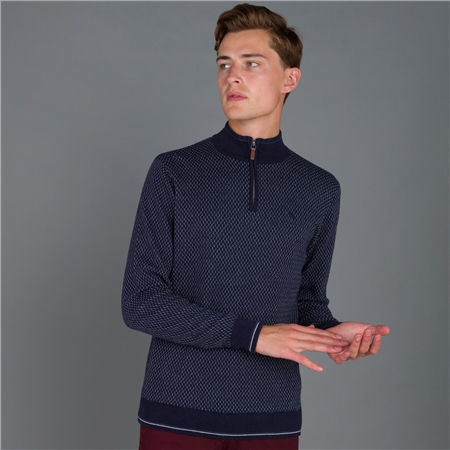 Navy Cashelenny Birdseye Cotton 1/4 zip Jumper  - Click to view a larger image