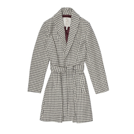 Pewter & Vanilla Houndstooth Clooney Cardigan Coat  - Click to view a larger image
